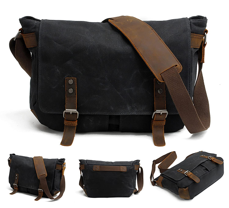 Amazon.com  Men s Waxed Canvas Messenger Bag Shoulder Crossbody Military  Satchel School Laptop Bag (M49 Black)  HC HuaChen cb8fcbe1bf