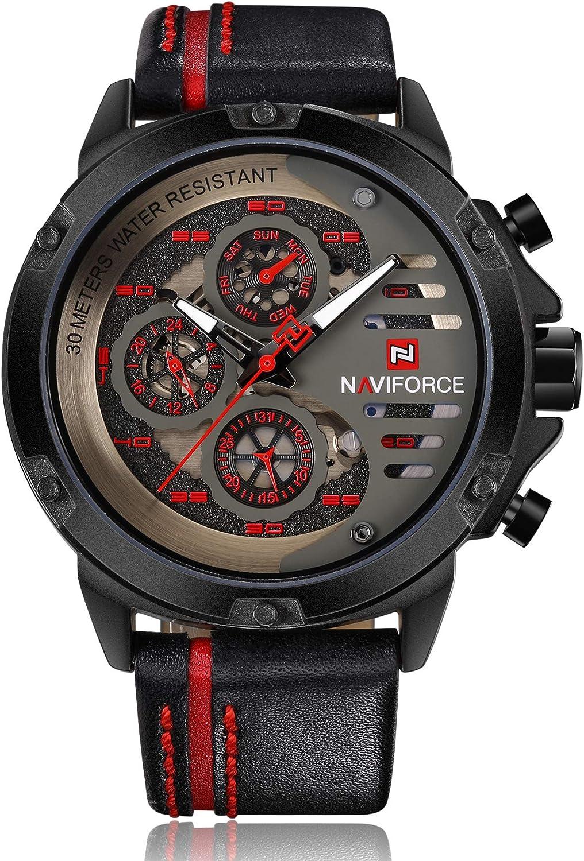 NAVIFORCE Mens relojes impermeable 24 horas fecha cuarzo reloj hombre cuero deporte reloj hombres impermeable