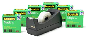 Scotch Brand Magic Tape with Black Dispenser, Versatile, Photo-Safe, Great for Gift Wrapping, 3/4 x 1000 Inches, Boxed, 6 Rolls, 1 Dispenser (810K6C38)