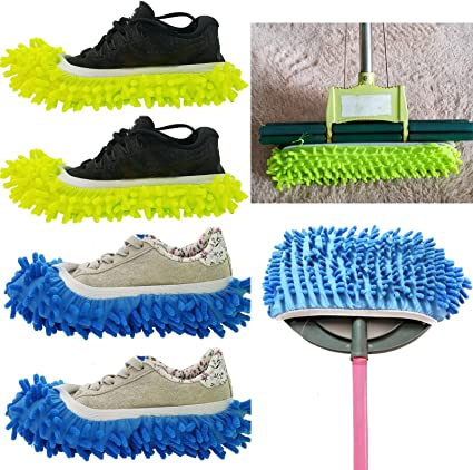 Mop Slippers Shoes Cover Brown, two pairs 4pcs Soft Washable Reusable Microfiber Foot Socks Floor Dust Dirt Hair Cleaner for Bathroom Office Kitchen House Polishing Cleaning 2 Pairs