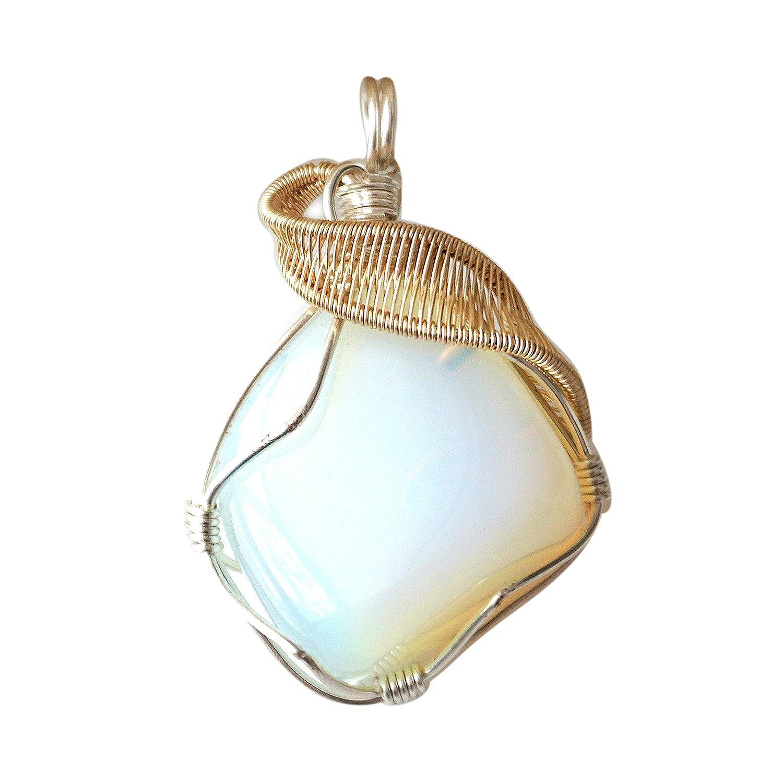 Beaded Pendant Necklace Iridescent Quartz Opalite Wire Wrapped Sodalite Gold Hematite