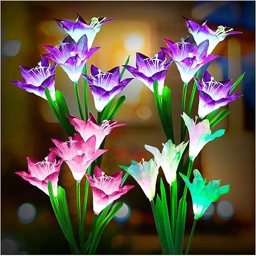 Outdoor Solar Lights, KOOPER 4 Pack Solar Garden Lights with 16 Bigger Lily Flowers, Waterproof 7 Color Changing Outdoor Lights – Bigger Solar Panel for Garden Patio Yard Pathway Decoration