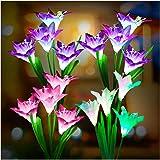 Outdoor Solar Lights, KOOPER 4 Pack Solar Garden Lights with 16 Bigger Lily Flowers, Waterproof 7 Color Changing Outdoor…