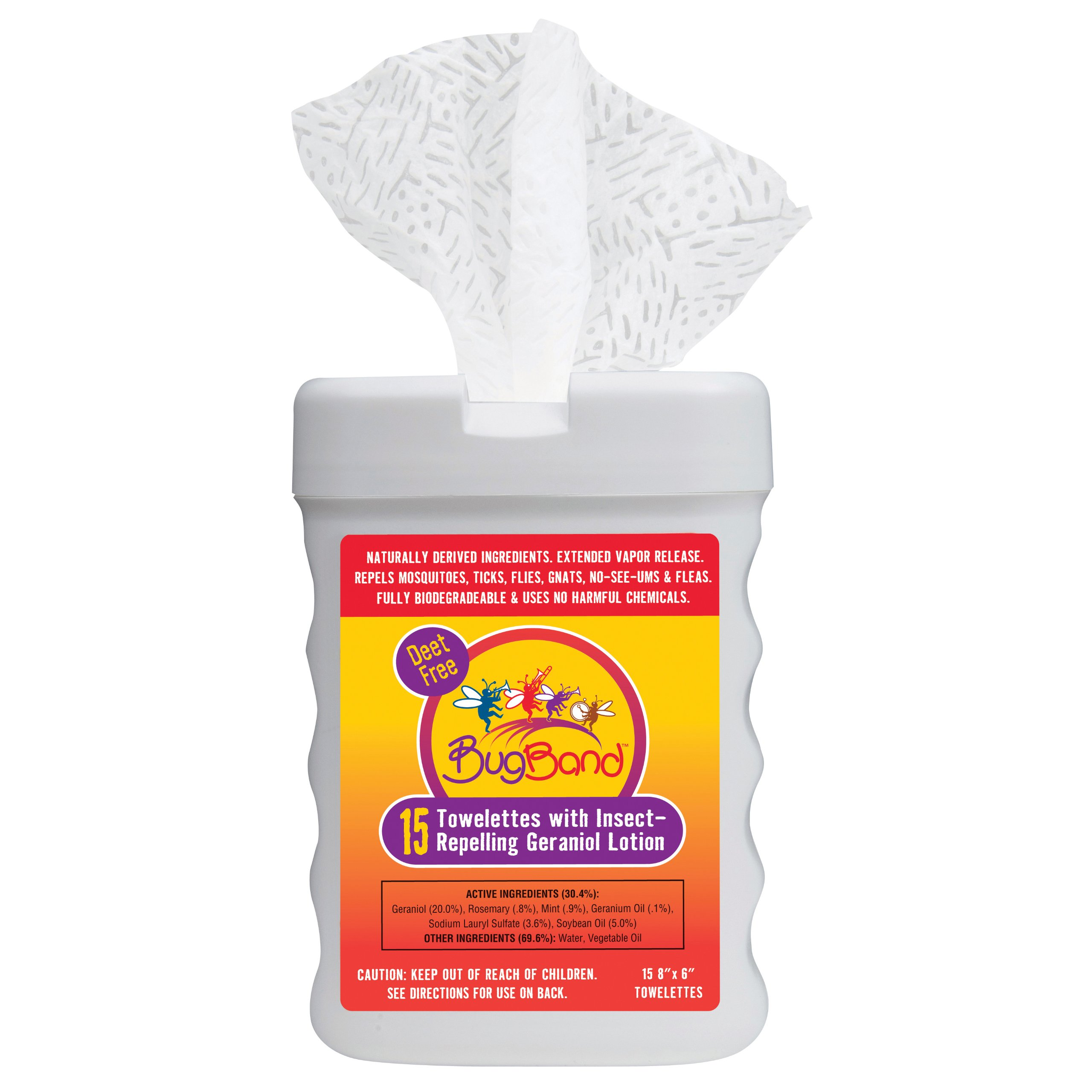 BugBand 88919 Towelette Tub with Insect Repelleing Geraniol Lotion, 15 Count