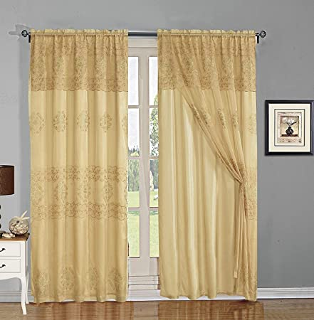 Turquoise Charity and Sliding Doors Dining Room Elegant Home Window Curtain Drapes All-in-One Set with Valance /& Sheer Backing /& Tassels for Living Room Bedroom