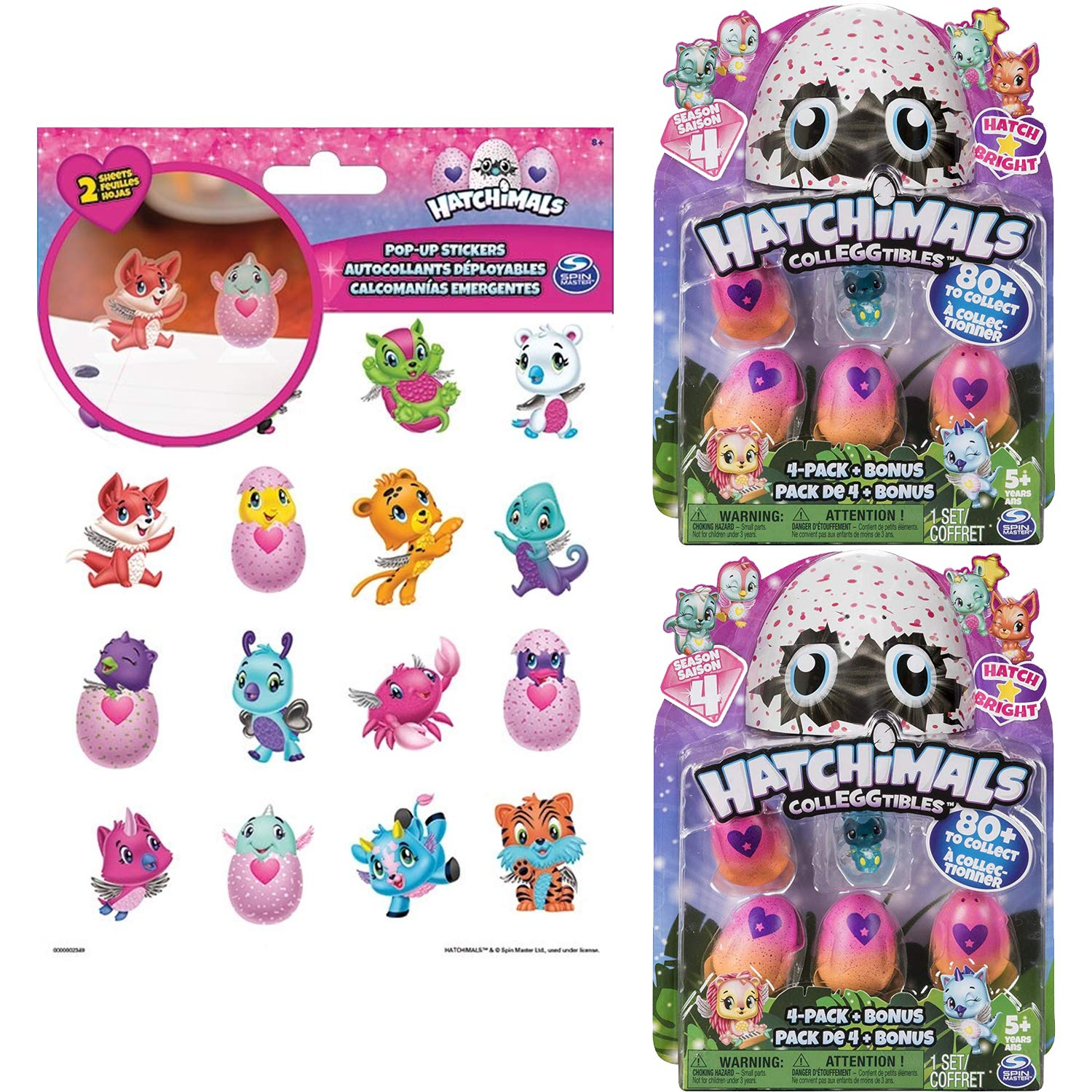 Hatchimals CollEGGtibles Season 4 Hatch Bright 4-Pack + Bonus, Bundle of 2, with 32 Hatchimals Pop Up Stickers, Ages 5 & Up (Styles and Colors May Vary)