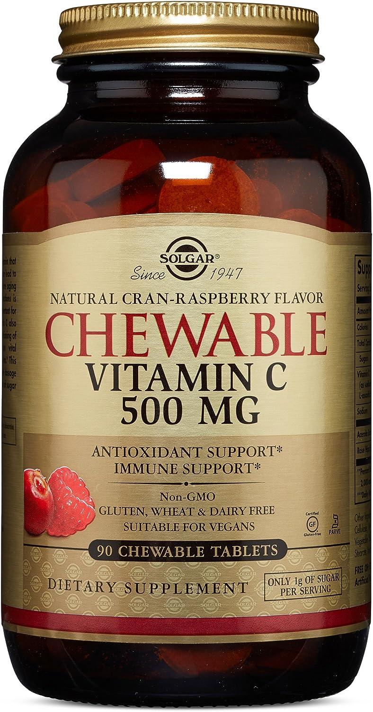 Solgar Vitamina C Masticable 500 mg, Sabor Natural de Frambuesa - 90 Tabletas