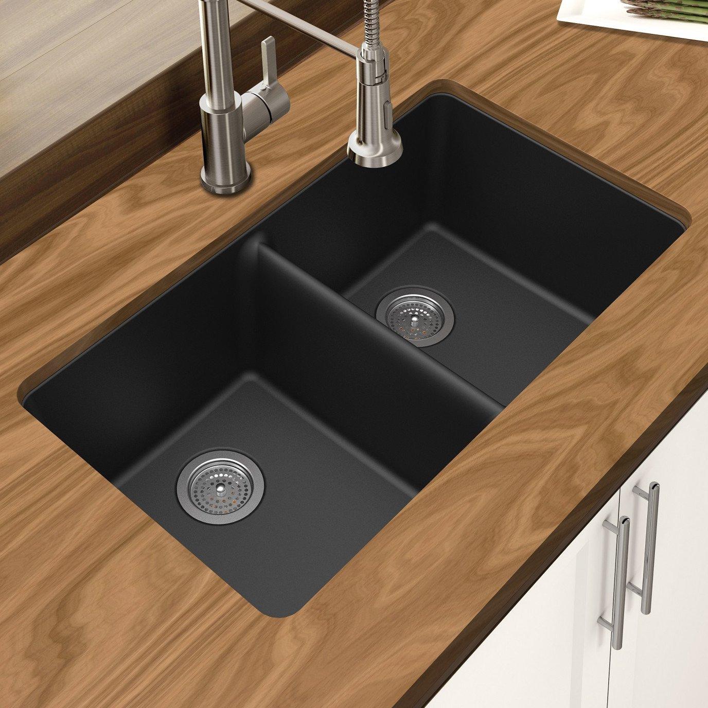Winpro New Black Granite Quartz 33'' x 18-3/4'' x 9-1/2'' Equal Double Bowl Undermount Sink