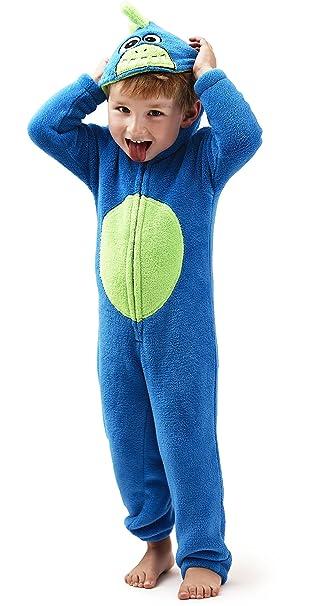 unheimlich Niños 3d Monster Corel Forro Polar con Capucha Onesie, Mono Pijama Albornoz, Azul
