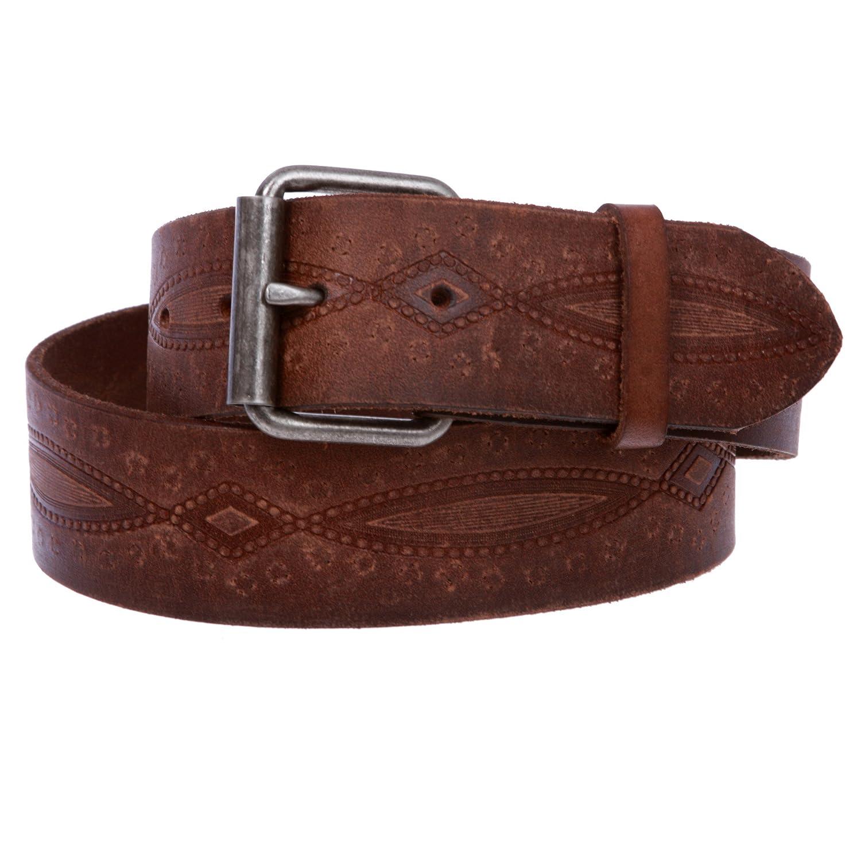 1 3/4' snap on Embossed Vintage Cowhide Thick Leather Casual Jean Belt, Black | 34' Black | 34 50238-h8og-dkhg