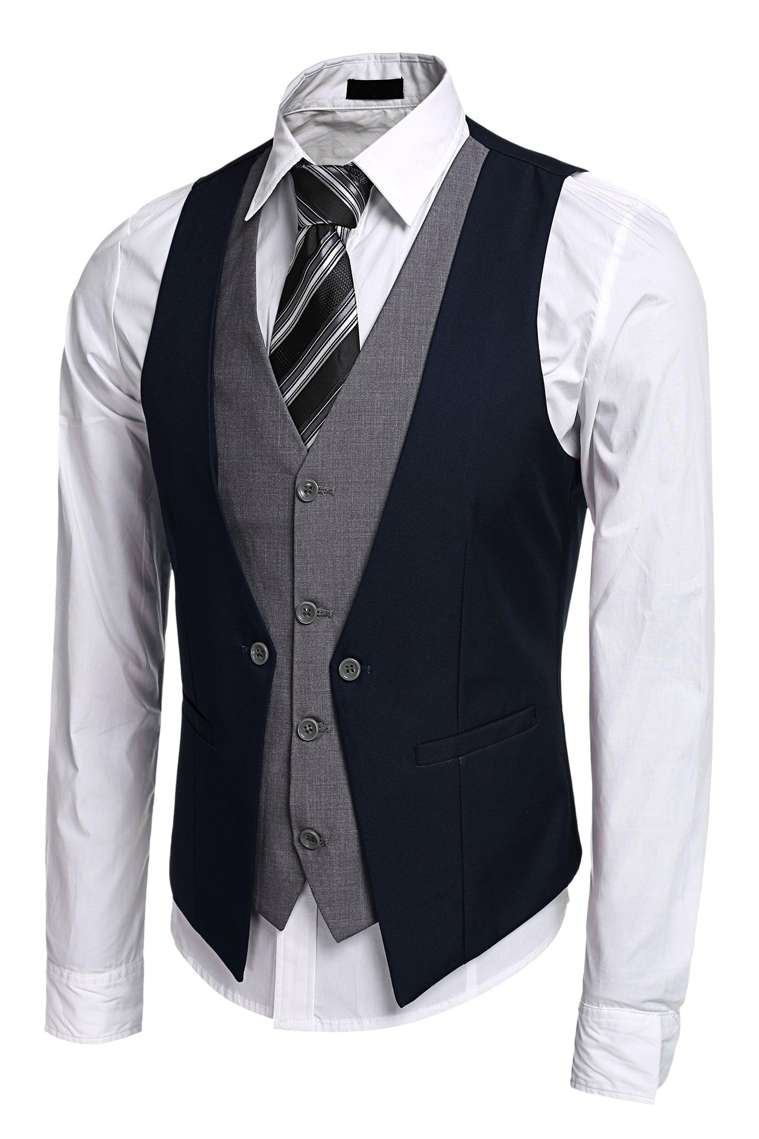 Mens Slim Fit Business Suit Dress Vest Layered Fashion Party Wedding Vest