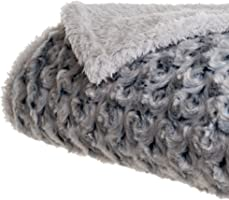 Bedford Home Plush Flower Fleece Sherpa Throw Blanket, Black