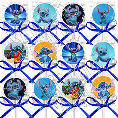 (Lilo &) Stitch ONLY Party Favors Supplies Decorations Movie Lollipops w/Blue Bows Party Favors -12 pcs: Toys & Games
