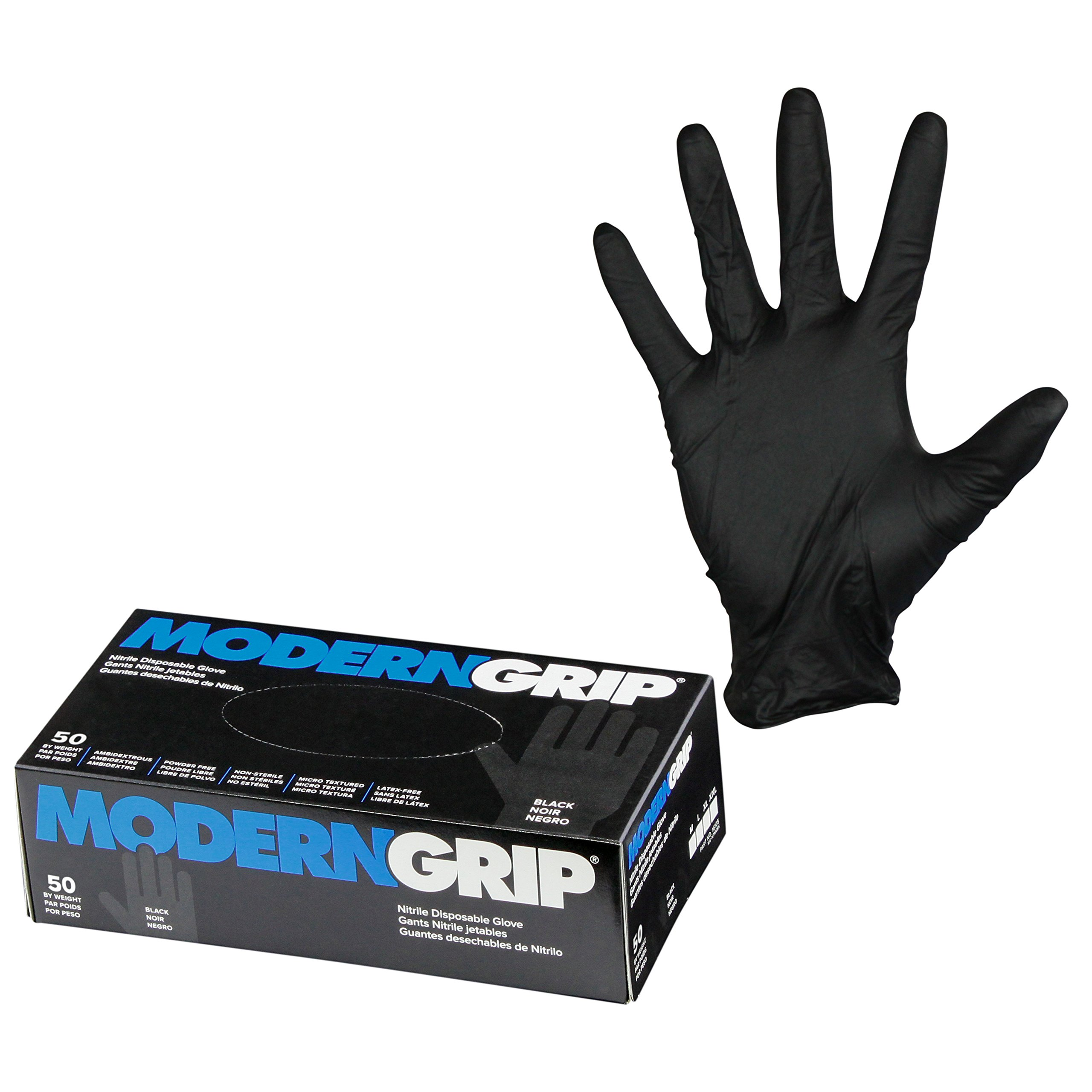 Modern Grip 18105-L Nitrile 8 mil Thickness Premium Disposable Gloves – Industrial and Household, Powder Free, Latex Free, Micro Textured for Superior Grip - Black - Large (50 count) by Modern Grip