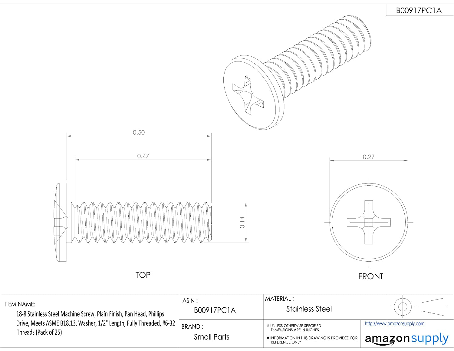 Fully Threaded External-Tooth Lock Washer #6-32 UNC Threads 1//2 Length Small Parts Plain Finish Phillips Drive 1//2 Length Meets ASME B18.13 18-8 Stainless Steel Machine Screw Pan Head Pack of 25