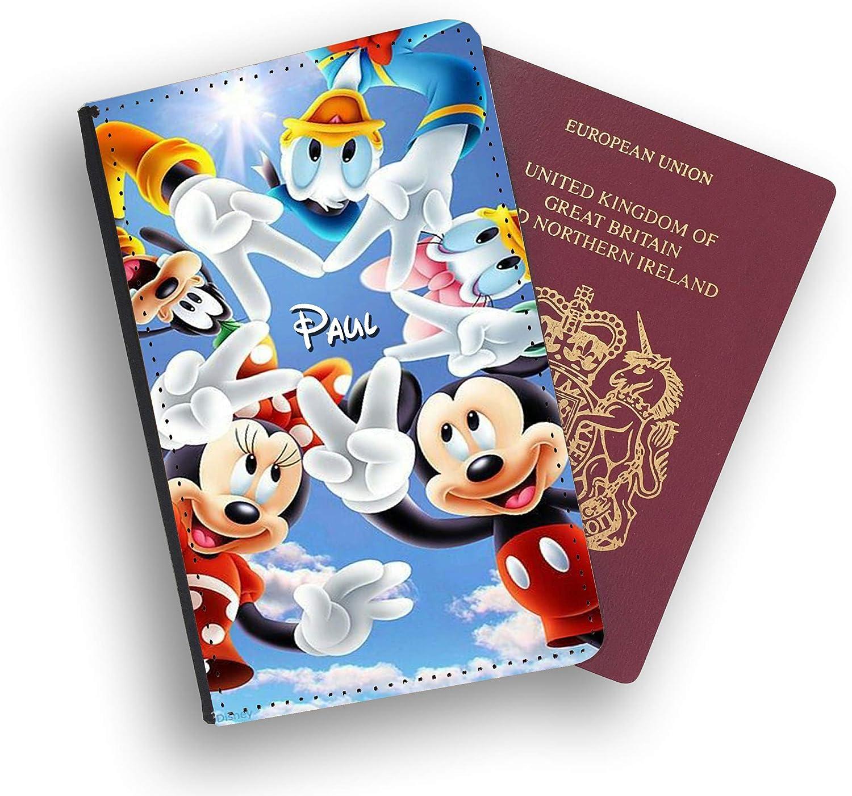 Disney Mickey Minnie Donald Daisy /Étui pour passeport personnalisable en similicuir avec /étiquette de bagage Blanc Black With White Face Luggage tag