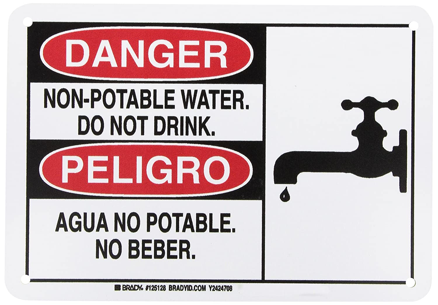 10 Length x 7 Height Aluminum Legend CAUTION NON POTABLE WATER DO NOT DRINK Black on Yellow NMC C361A OSHA Sign