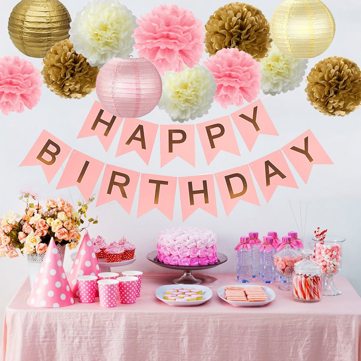 29PCs of Pink Gold and Cream Birthday Party Decorations Set Pom Pom Lanterns Polka Dot Triangle Garland Banner First 1st Birthday Girl Princess Theme Decorations Kit Party Supplies Backdrop Lillypet