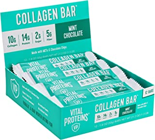product image for Collagen Protein Bars with MCTs - Vital Proteins Collagen Bars - 16-17g of Protein, 6-8g of Fiber, 4g of Sugar or Less Per Bar (Mint Chocolate)