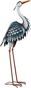 TERESA'S COLLECTIONS 33.8 inch Garden Sculpture Standing Heron Metal Statue for Outdoor Decor, Blue Crane Sculpture Bird Yard Art Decor for Backyard Porch Patio Lawn Decorations