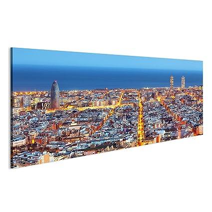 Cuadro Cuadros horizonte de Barcelona, vista aérea por la noche ...