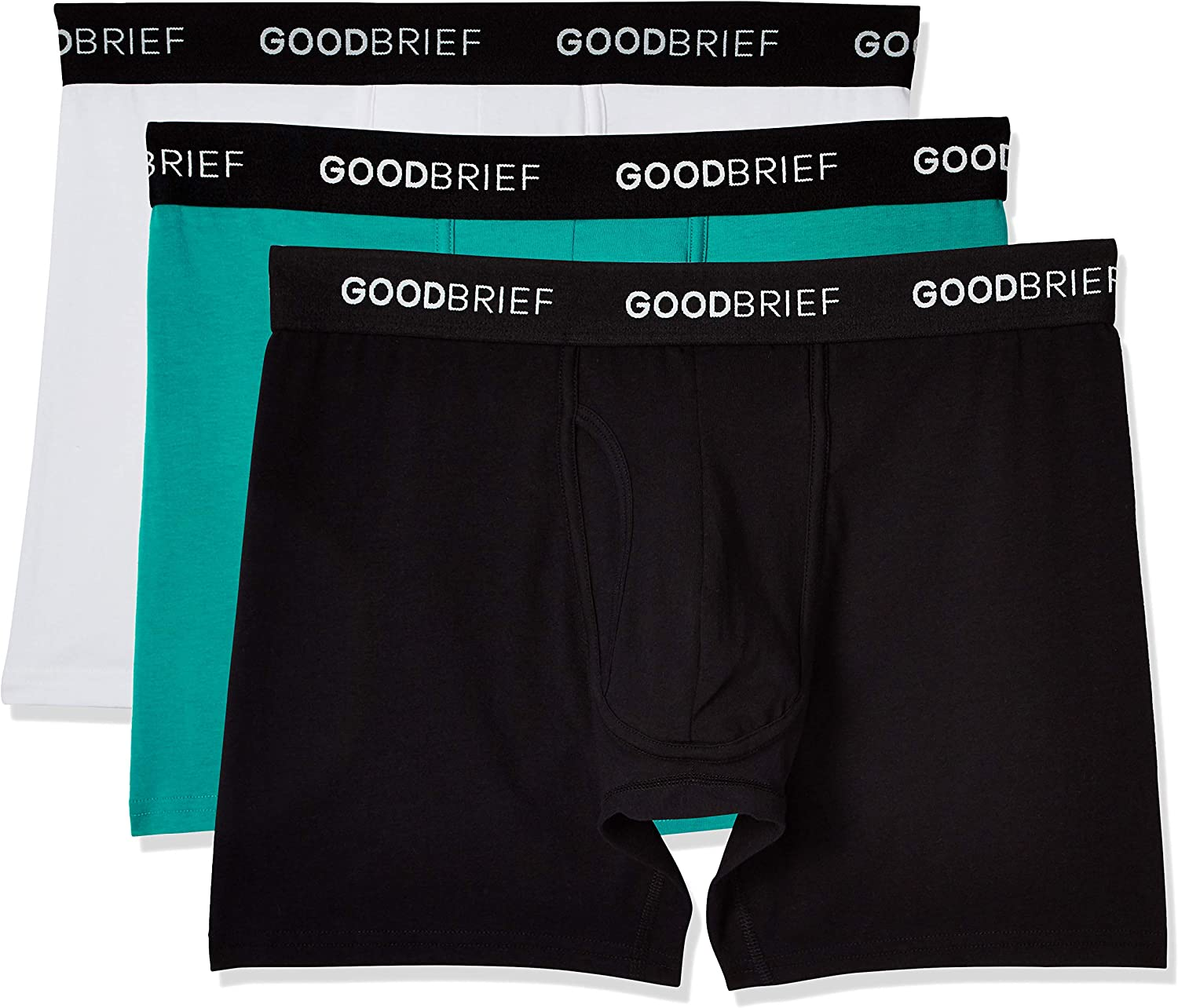 Good Brief Mens Cotton Stretch Classic Fit Boxer Briefs 3-Pack//4-Pack//5-Pack