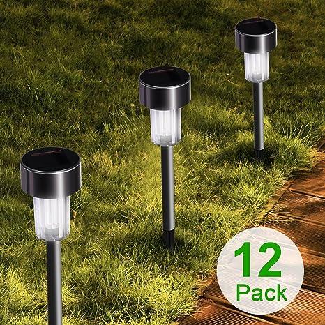 Stripsun LED Solar Garden Lights, [12 Pack] Stainless Steel Outdoor Solar  Landscape Lights