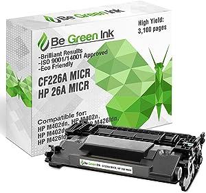 Be Green Ink Compatible Replacement Black MICR Toner Cartridge for HP M402 M426 M402dn M402n M402dw MFP M426fdn M426fdw - CF226A 26A Black Toner (MICR)