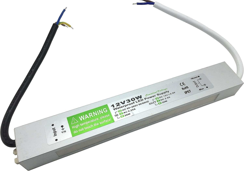 YXH® Transformador 30W LED Tira Módulo luces Conductor 12v Fuente de alimentación iluminación exterior impermeable Ac 90-265v iluminación transformador