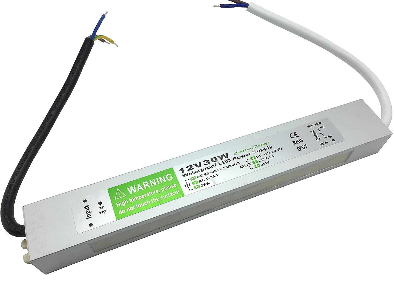 YXH® Transformador 30W LED Tira Módulo luces Conductor 12v Fuente de alimentación iluminación exterior impermeable Ac 90-265v iluminación transformador: ...