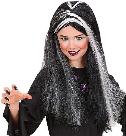 Black Silver Streak Witch Wig Costume New