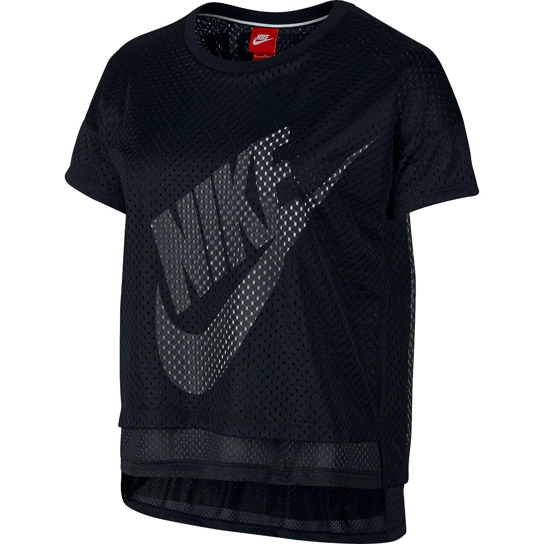 8627d1d72bf23 Nike Crop Mesh Women's T-Shirt Black/White 726110-010 (Size L) at Amazon  Women's Clothing store: