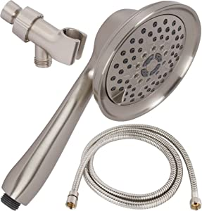 Shower Massage Handheld With Hose - Massager & Mist Hand Held Showerhead Kit - High Pressure Removable Head And Mount - Adjustable Massaging Rainfall Spray, 2.5 GPM - Brushed Nickel