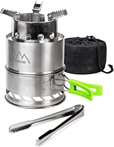 Sierras Camping Stove Stainless Steel, Portable, Backpacking, With Mesh Sack & Grilling Tongs, Steady and Efficient Burning, Foldable Holder and Serrated Three-Legs Stand for Cooking and Grilling