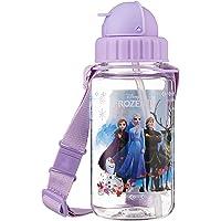 Disney Frozen BPA-Free Tritan Bottle with Straw and Safety Release Strap, 350ml, Purple (Frozen 2)
