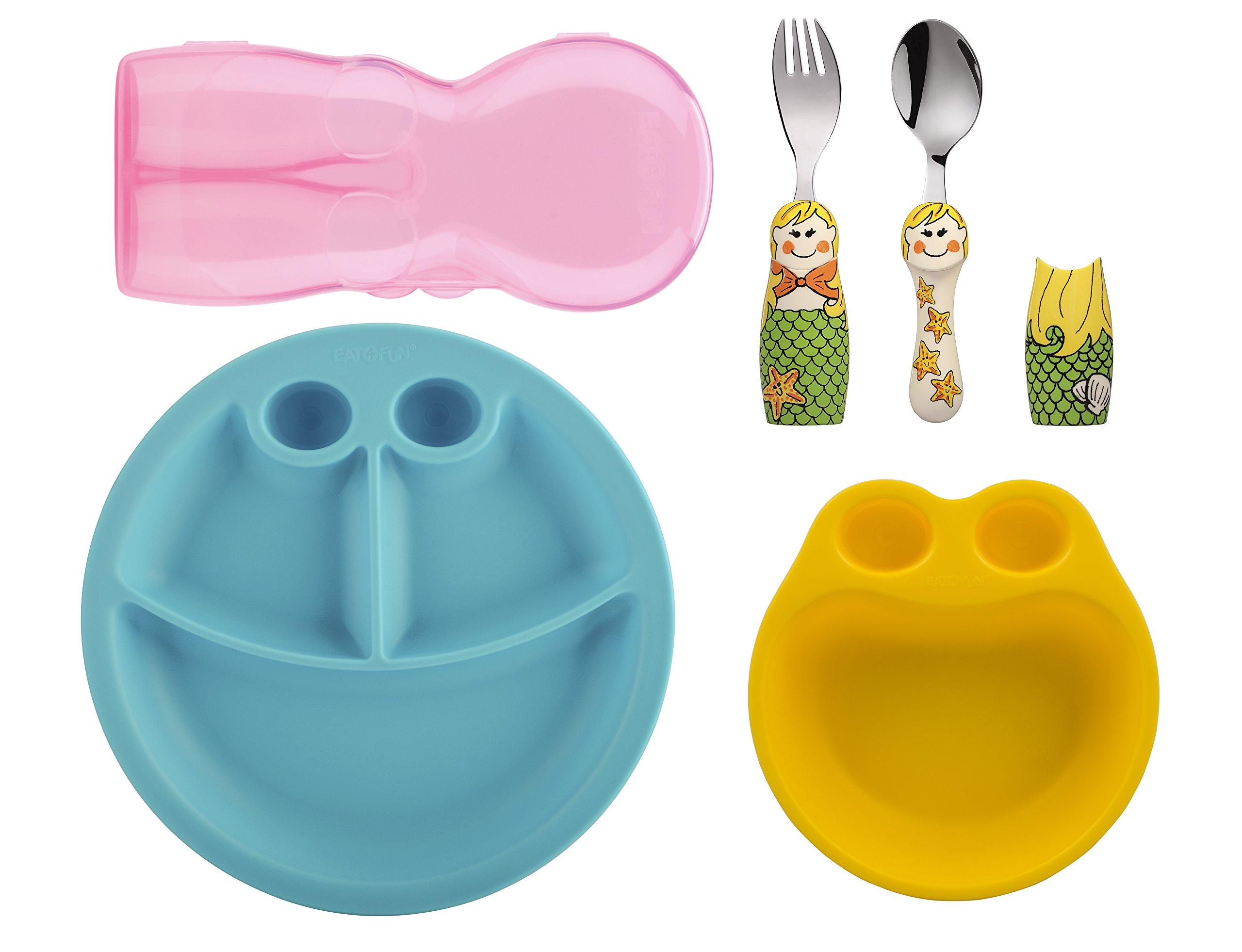 Eat4Fun Kids and Toddler Utensil Set - Mermaid Fork & Spoon Plate and Bowl by Eat4Fun (Image #1)
