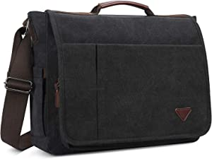 Laptop Bag 17 inch, Mens Messenger Bag Computer Bag Travel Casual Business Canvas Student Shoulder Bag for Men