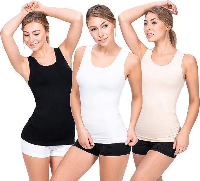 UnsichtBra Camisetas Mujer | Camisetas Tirantes Mujer | Pack de 3 Tops: Amazon.es: Ropa y accesorios