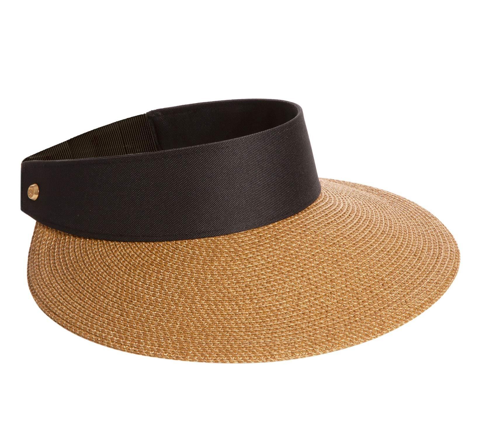 Eric Javits Women's 12164 Headwear Hat Champ II Custom Fit Visor Natural Black