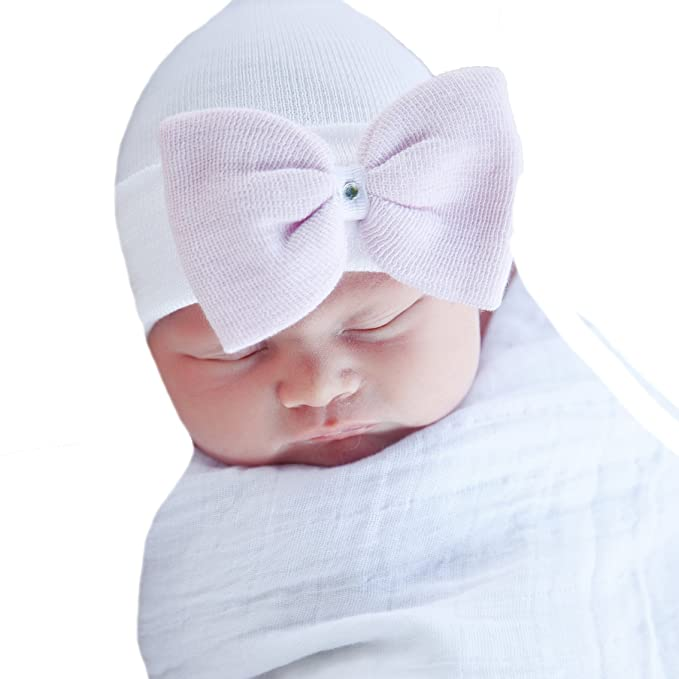 2e68d7ec745 Image Unavailable. Image not available for. Color  Melondipity Angel White Hospital  Hat with Pink Bow and Gem for Newborn Girls