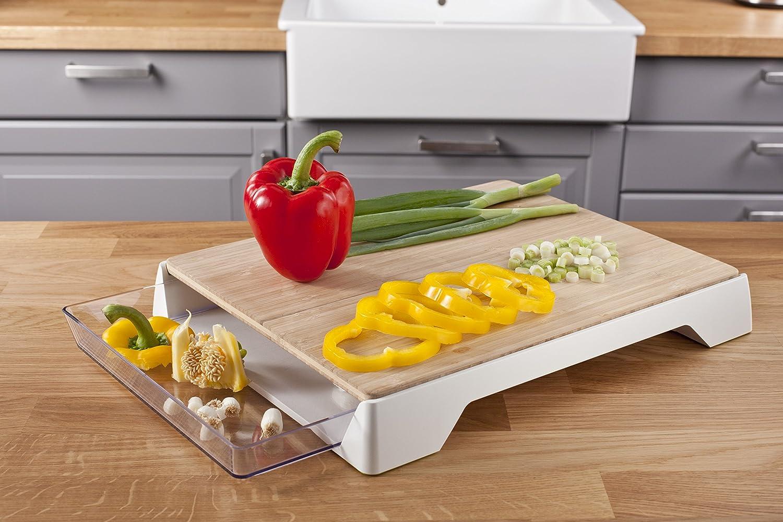 Tomorrows Kitchen 4685260 - Tabla de cortar de bambú con cajón recogedor, color blanco