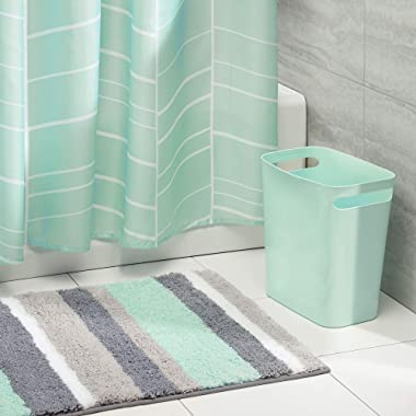 mDesign 3 Piece Decorative Bathroom Decor Set - Fine Weave Polyester Fabric Shower Curtain, Striped Microfiber Non-Slip Bathroom Accent Rug, Wastebasket Trash Can - Mint/Gray/White