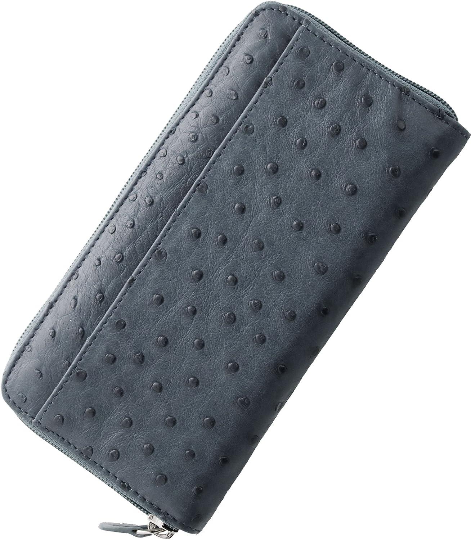 革 メンズ 財布 長財布 ラウンドファスナー オーストリッチ B07DBWSRSD ブルーグレー ブルーグレー