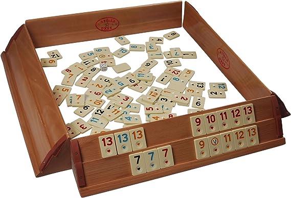 Juego prémium Okey / Rummikub para 4 jugadores, tablero de madera maciza con fichas de melamina: Amazon.es: Hogar