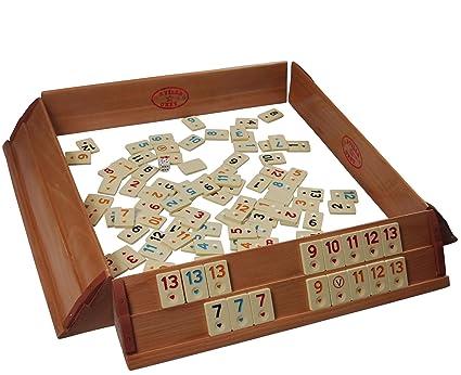 Juego prémium Okey / Rummikub para 4 jugadores, tablero de madera maciza con fichas de