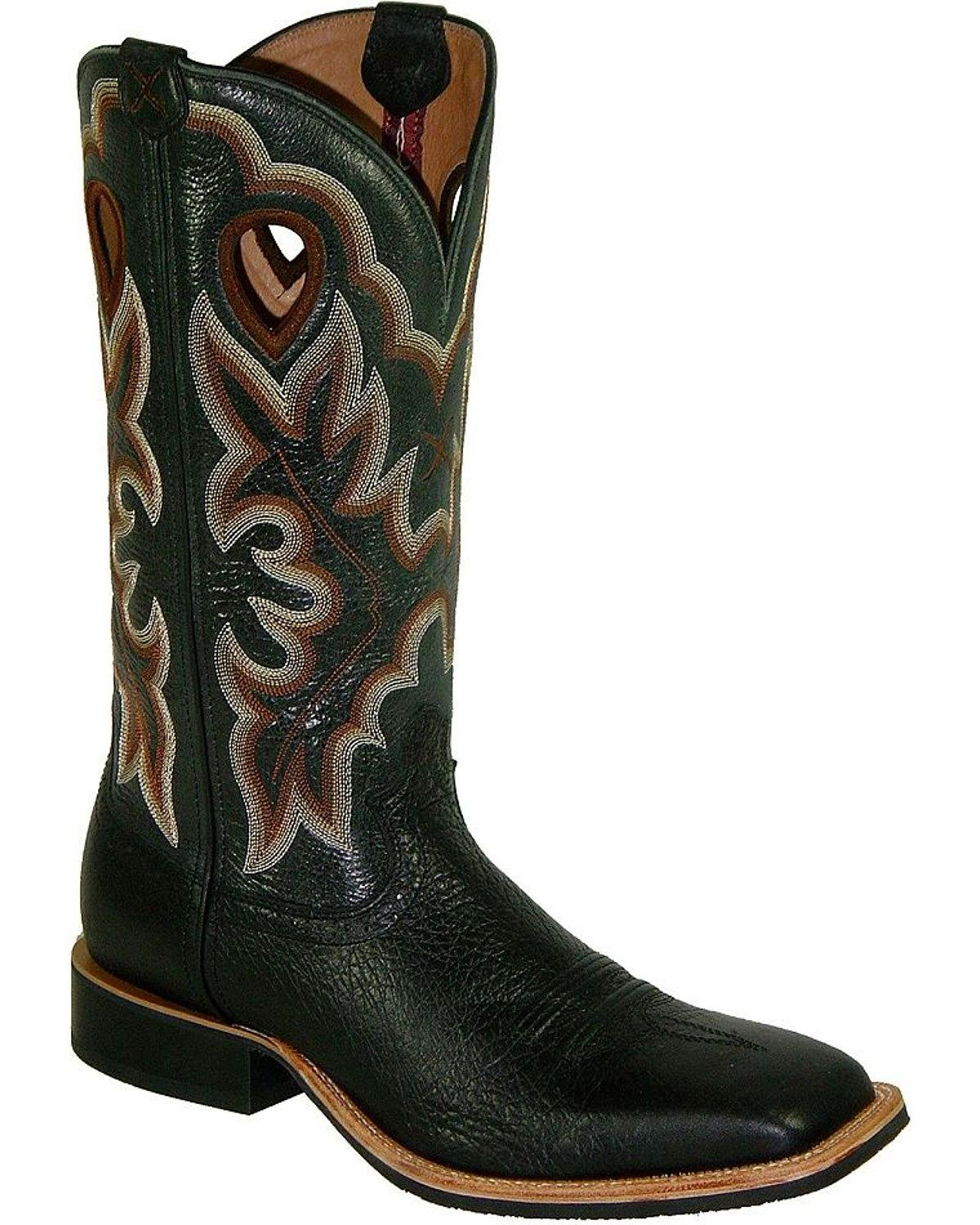 Twisted X Men's Ruff Stock Shoulder Cowboy Boot Square Toe Black 8 D(M) US by Twisted X