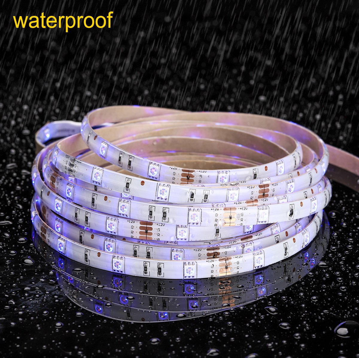 MINGER LED Strip Light Waterproof 16.4ft RGB SMD 5050 LED Rope Lighting Color Changing Full Kit with 44-keys IR Remote Controller & Power Supply Led Strip Lights for Home Kitchen Bed Room Decoration by MINGER (Image #3)