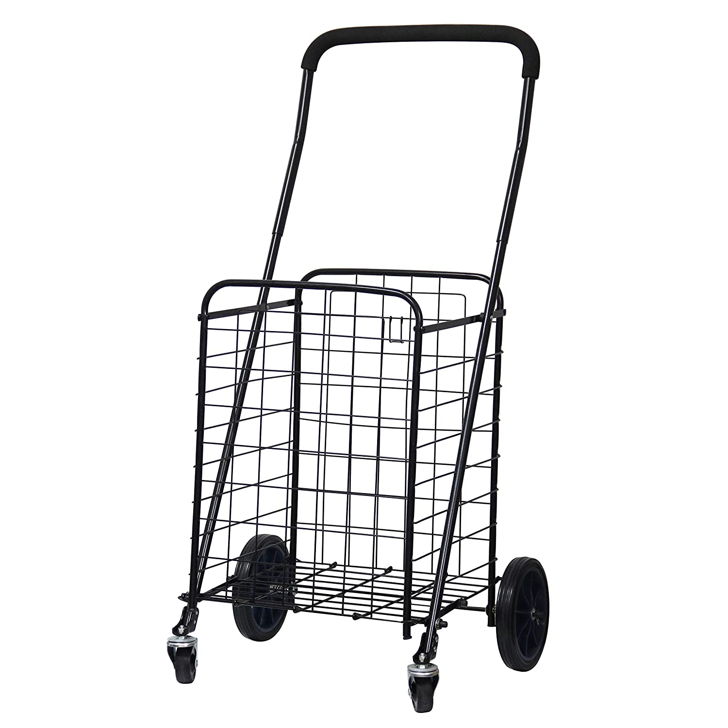 FORUP Utility Shopping Cart with Rolling Swivel Wheels (Black) SC-01