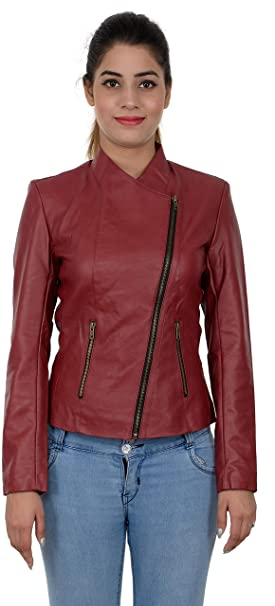 Labeeb Fashion Women S Cherry Color Faux Leather Jacket Amazon In