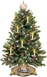 The Bradford Exchange Thomas Kinkade Holiday Traditions Tabletop Tree with Flickering Flameless Candles